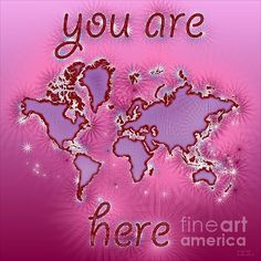 World Map Amuza with 'You Are Here' text In Purple And Pink by elevencorners. World map wall print decor. #elevencorners #mapamuza