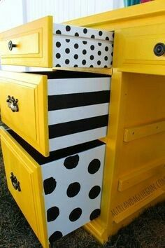 Yellow desk with poka dot drawers
