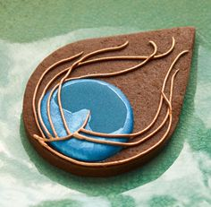Stylised Peacock Feather cookie