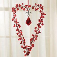 Red Beaded Crystal Heart Wreath