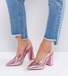 New Look Wide Fit Metallic Pointed Sling Back Heeled Shoe - Pink