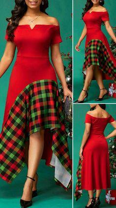 Plaid Print Side Zipper V Bar Dress HOT SALES beautiful dresses, pretty dresses, holiday fashi Long African Dresses, Latest African Fashion Dresses, African Print Fashion, Dresses Elegant, Pretty Dresses, Beautiful Dresses, Sexy Dresses, Summer Dresses, Formal Dresses