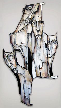 """Tribe"" - Damon Ginandes (wire/metal relief, acrylic on wood) Mixed Media Artists, Art Painting, Assemblage Art, Found Object Art, New York Art, Daily Art, Art, Figurative Artwork, Street Art"