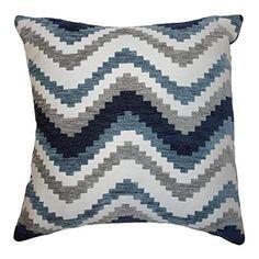 "McAlister Textiles Navajo Cushion Cover   Denim Navy Blue Geometric Stripe Pattern Chenille Decorative Square Scatter Throw Pillow   43cm 17"": Amazon.co.uk: Kitchen & Home"