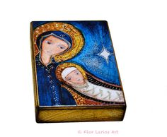O Night Divine Mother and Child - ACEO Giclee print mounted on Wood (2.5 x 3.5 inches) Folk Art  by FLOR LARIOS. $10.00, via Etsy.