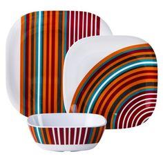 Room Essentials® 12 Piece Geo Decal Dinnerware Set - Multicolour