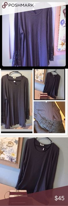 """Gray Bohemian Style Tunic Accented Sleeves Beautiful Gray Bohemian Style Tunic Accented Sleeves.  Measurements laying flat are as follows:   length : 34"""", sleeve length from pit to wrist: 19"""", pit to pit of dress: 25"""", sleeve length from shoulder to wrist 25"""",   This tunic is 100% Cotton. It is a stretchy Cotton and super comfortable and stylish! As stated, this is the final price cut so all offers will be declined. Thanks for understanding. Listing #T3273 Tops Tunics"""