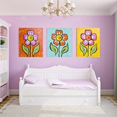 DecoArt Large Floral Canvases