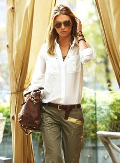 This spring, I'm all about safari-chic. Its casual/classic/cool-girl vibe and mostly neutral palette of olives, khaki, etc Spring Dresses Casual, Trendy Dresses, Spring Outfits, Nice Dresses, Dresses For Work, Dress Casual, Casual Summer, Dress Summer, Summer Chic