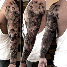 Full Sleeve Greek Themed Tattoo