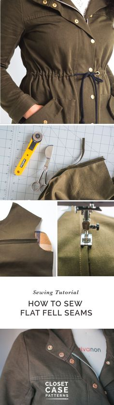 How to sew flat felled seams // Sewing tutorial // Closet Case Patterns Sewing Hacks, Sewing Tutorials, Sewing Tips, Sewing Ideas, Sewing Projects, Flat Felled Seam, Diy Dress, Dress Ideas, Anorak Jacket