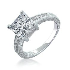 Bling Jewelry SterlingSilver 2.9 ct Princess CZ Engagement Ring - Size 7 - Smart look. Brilliant price tag. Our Sterling Silver Princess CZ Diamond Engagement Ring is the classic antique style engagement ring. The 2.9 ct CZ diamond 4-prong engagement