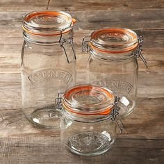 Kilner Clip-Top Jars, Set of 4 #WilliamsSonoma. Got these as a gift and I love them. Look great filled up.