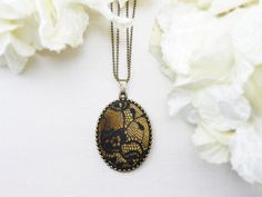 Fabric necklace - Black lace and gold yellow velvet pendant - Vintage style necklace - Antique bronze tone chain and crystal beads. (C090) by TriccotraShop on Etsy