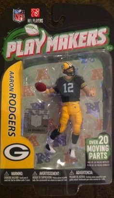 NFL Green Bay Packers McFarlane 2012 Playmakers Series 3 Aaron Rodgers Action Figure. With over 20 points of articulation, each figure can be posed in realistic game positions. NFL PlayMakers are the most durable articulated sports figures ever. PlayMakers are poseable and durable. Perfect for a young sports fan to collect and play with.