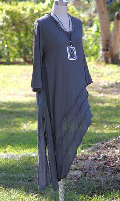 Oh My Gauze Cotton Angle Hem Rain Long Tunic Top 1 s M L 2 L XL 1x Graphite | eBay