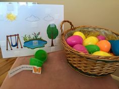 Gina Sefershayan- Spring prepositions.   This therapy material focuses on syntax and semantics which targets identifying prepositions through a spring time worksheet activity and following 1-2 step auditory directives. The child will  pick an egg which contains a direction and a Velcro spring picture inside. The clinician will read aloud the directive acoustically highlighting each preposition and  provide binary choices. This can be used with children with language impairments.