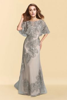 Trumpet Bateau Floor-length Tulle Mother of the Bride Dress