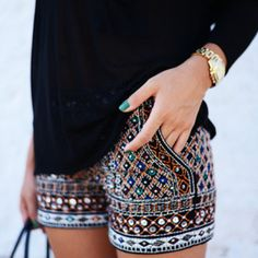 Multicolor Embroidered Shorts with Stones by Zara