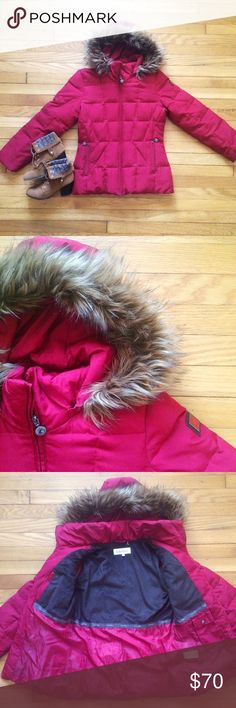 """Calvin Klein Red Puffer Coat w Fur Trim Hood Puffer style jacket with down-blend fill and super warm. The color is like a deep pomegranate red, despite it looking pinkish in photos. Front zipper closure and zip pockets at hips. Removable hood with faux fur trim. Shell and lining are polyester, the body fill is duck down. Machine washable. 27"""" length. One small stain on back of sleeve, not even noticeable. Calvin Klein Jackets & Coats Puffers"""