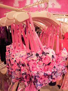PINK floral bralette. Loving the rhinestoned straps!