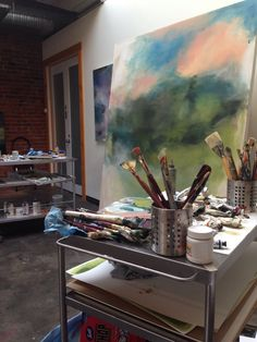 Studio peak. Large scale atmospheric abstract painting in process