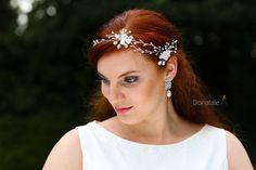 Boho Flower Hair Vine- Bridal headpiece- Bridal Hair Piece- Pearl Hair Vine -Opal  Headpiece -Wedding Hair Vine Halo Headband - SKYE