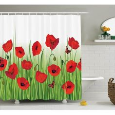 Poppy Decor Shower Curtain Set, Grass, Flowers, Butterfly Floral Decorating Summer Park Greenland Artwork, Bathroom Accessories, 69W X 70L Inches, By Ambesonne