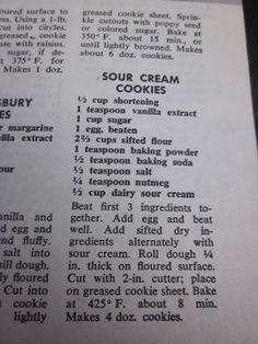Grandma's Vintage Recipes: SOUR CREAM COOKIES