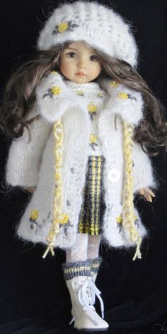 Mohair Handknit Coat and skirt set made for Effner little darling dolls.
