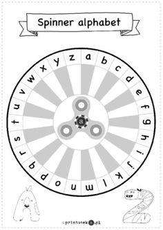 Alphabet spinner - wersja czarno-biała - Printoteka.pl