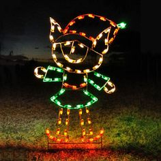 """Elf Girl LED Light Display - 66""""H-Designed to be inserted into the ground and secured with guy wires (included).  Can be displayed on a solid flat surface with the use of a floor stand-Proudly Made in USA #madeinusa $399.00 http://www.christmasnightinc.com/c160/c165/Elf-Girl-LED-Light-Display-66H-p1478.html#"""