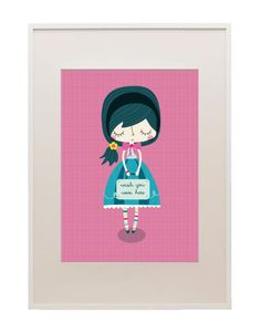 Suitcase Girl - paper and cloth art prints available in big cartel shop