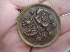 "Large Antique Brass Button Flower Stem 1-1/2"" Sunflower Daisy Purple Tint"