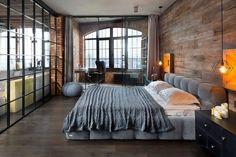 einrichtungsstile 2016 trends-schlafzimmer-retro-industrial-graues-polsterbett-holzboden-wandverkleidung