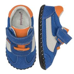 2387: Originals Cliff Blue/Orange - Mesh mixes with genuine leather to produce this bright Cliff style. Add an adjustable Velcro strap for a secure and custom fit.