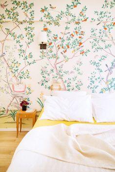 Floral wallpaper in bedroom