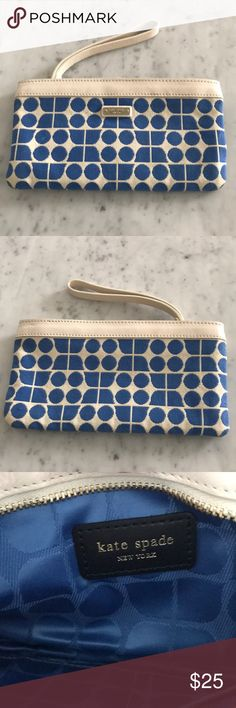 Kate Spade Wristlet Kate Spade Wristlet. Blue & White in stylish pattern on a cloth like material. Leather trim & handle. Zipper enclosure. Perfect summer wristlet. Like new condition. kate spade Bags Clutches & Wristlets