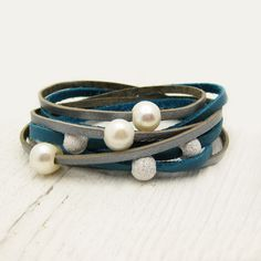 Fresh Water Pearl & Sterling Leather Wrap Bracelet