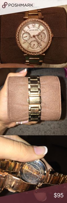 """Gold MK watch! 15% OFF 2+ ITEMS! Gold MK watch comes with setting, box, user manual, and links. Needs new battery and minor wear to the coloring- pictured. Still has a lot of life left to it! :) face is 1.25"""" wide. Michael Kors Accessories Watches"""