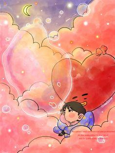 Cloud series with - V and Tata Fanart Bts, Taehyung Fanart, Bts Taehyung, Bts Chibi, Bts Cute, Bts Drawings, Bts Lockscreen, Bts Pictures, Bts Wallpaper