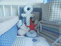 Детская ручной работы. Ярмарка Мастеров - ручная работа. Купить Подушка якорь. Handmade. Синий, интерьер для детской, подушка в кроватку