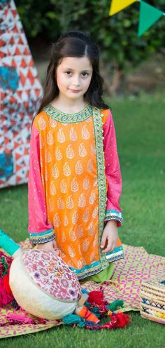 Buy Orange/Pink Embroidered Jamawar Dress by PakRobe.com Call: (702) 751-3523 Email: Info@PakRobe.com www.pakrobe.com https://www.pakrobe.com/Women/Clothing/Girls-Party-Dresses #GIRLS #PARTY #DRESSES