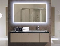 I've been spotting some fantastic DIY vanity mirror recently. Here are 17 ideas of DIY vanity mirror to beautify your room Narrow Bathroom Vanities, Backlit Bathroom Mirror, Led Bathroom Vanity Lights, Bathroom Mirror Design, Diy Vanity Mirror, Lighted Wall Mirror, Diy Bathroom Vanity, Modern Bathroom Design, Bathroom Interior