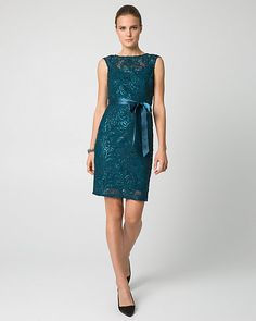 Sequin Soutache Shift Cocktail Dress - A fanciful sequin soutache fabric adds chic texture to this shimmering shift dress.