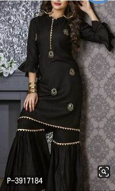 Beautiful Kurti with sharara and embellishments of embroidery. Beautiful Kurti with sharara and embellishments of embroidery. Pakistani Dresses Casual, Pakistani Fashion Casual, Pakistani Dress Design, Casual Dresses, Fashion Dresses, Work Dresses, Pakistani Clothing, Pakistani Party Wear, Suit Fashion