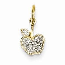 14k Gold Diamond Apple Charm
