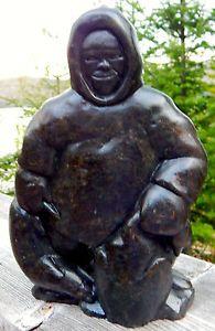 "Vintage Inuit Art INUK Soapstone Carving: JOE ACULIAK, E9-1595, 13x6x4"" 13.5 lbs | eBay"