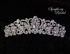 Elegant Crystal Wedding and Quinceanera Tiara Symphony Bridal 7703CR  - Affordable Elegance Bridal -