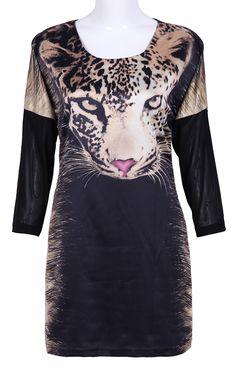 Black Long Sleeve Leopard Print Dress - Sheinside.com